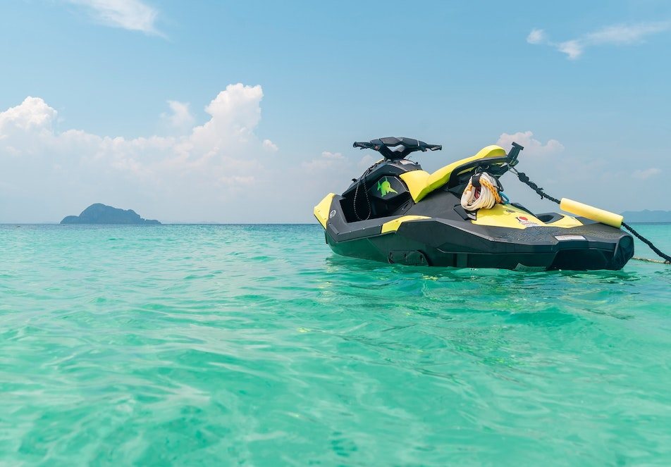 A jet ski is floating on the ocean
